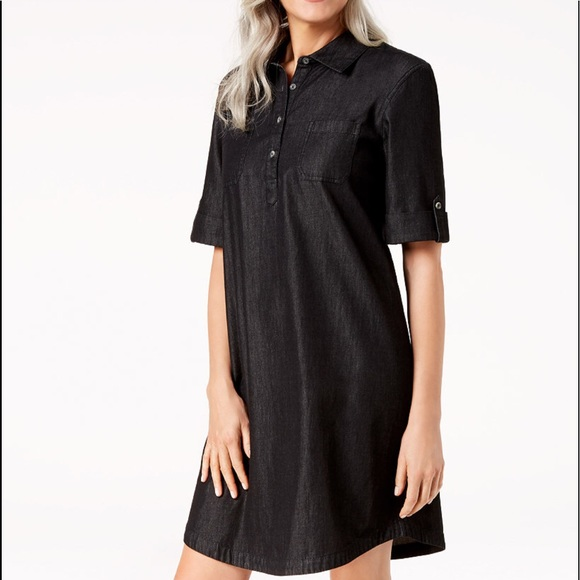 b677eed82ed9 Karen Scott Dresses | Denim Shirt Dress Black Pxl Nwt | Poshmark